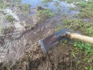 台風で溜まった水の排水